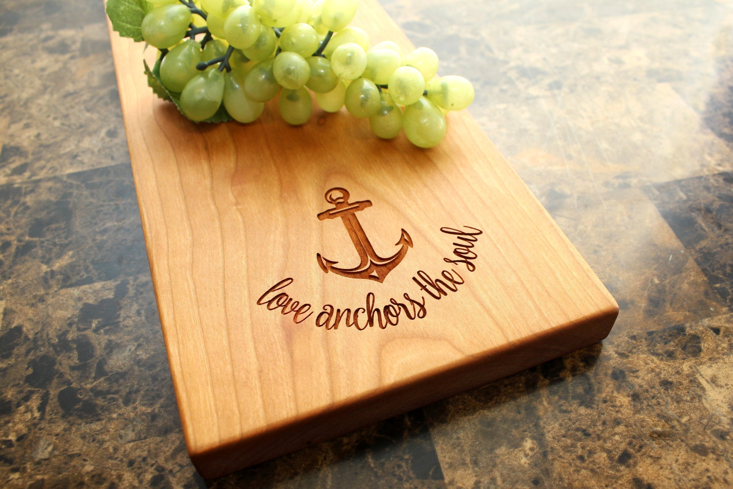 Love Anchors the Soul Personalized Cherry Cheese Board - Cheese Plate, Serving Platter, Bridal Shower, Wedding Gift, Anniversary Gift, Birthday Gift, Bridesmaid Gift. #912