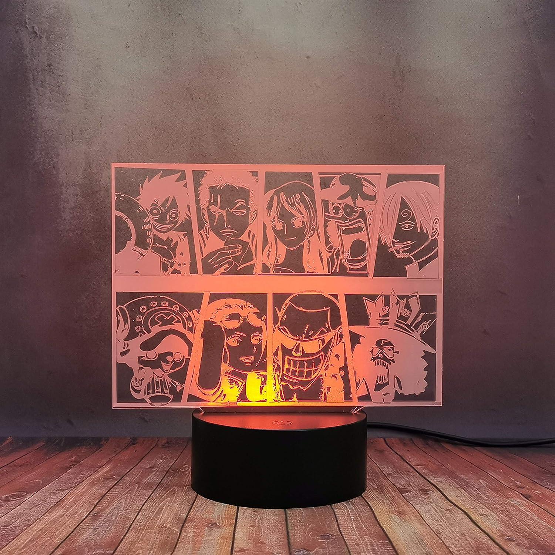 One Piece Anime Creative 3D Desk Lamp, Monkey·D·Luffy Roronoa Zoro Tony Tony Chopper Model LED 16 Color Night Light, Home Bedroom Decor Table Lamp for Boy Baby Sleep, Kid Birthday Toy Gift