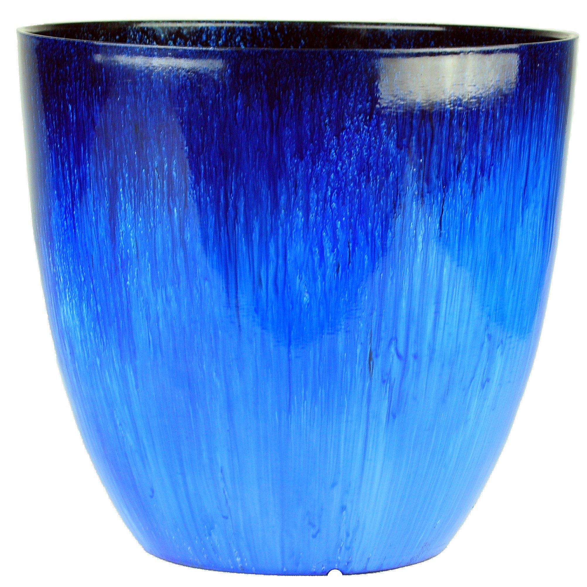 Gardener Select EPR18-204 Egg Planter Blue Flower, 18'' by Gardener Select