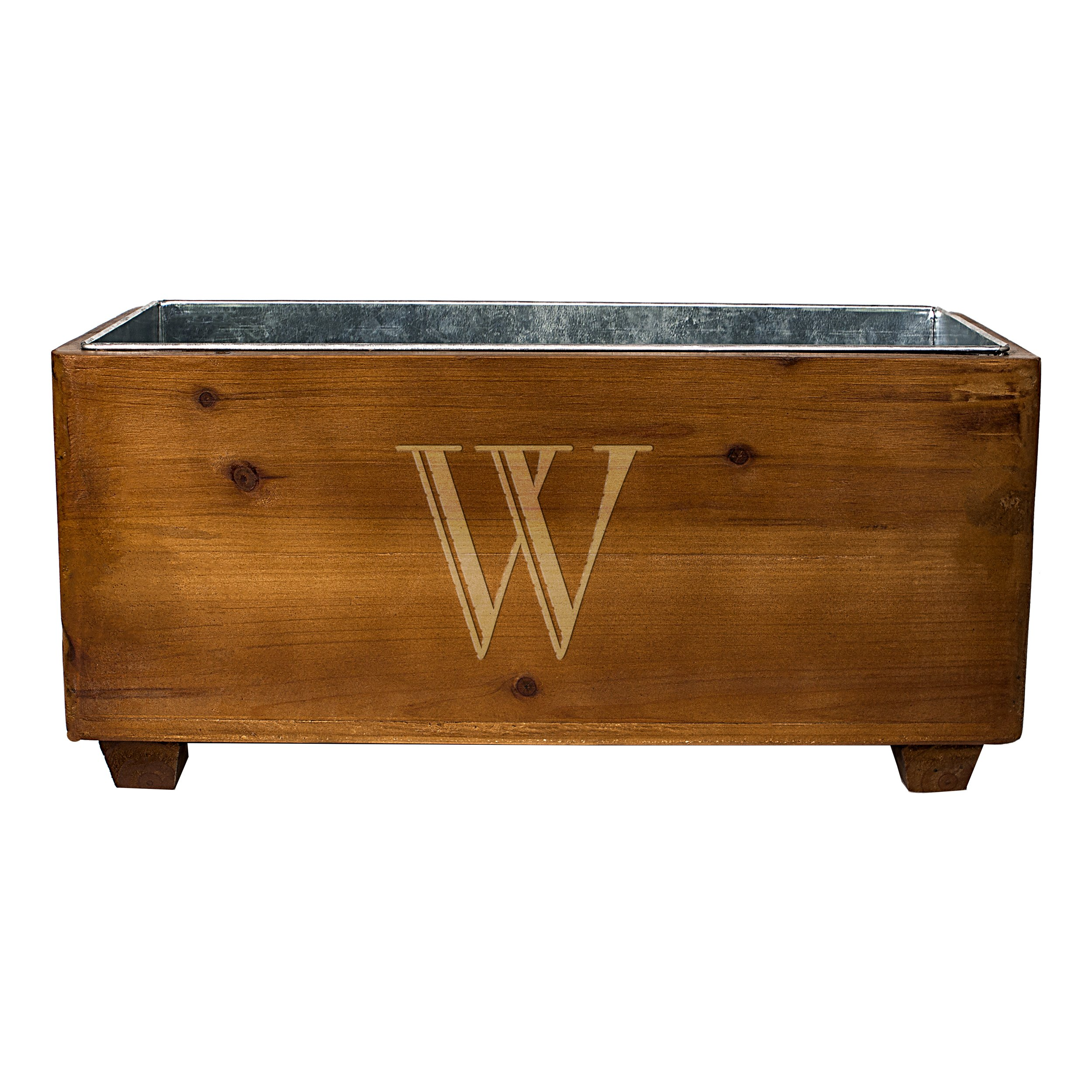 Cathy's Concepts Personalized Wooden Wine Trough, Letter W