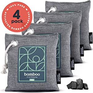 Bamboo Charcoal Air Purifying Bags, Pack of 4 – 200g Activated Charcoal Bags Naturally Filter Odor, Moisture – Kid and Pet-Friendly Deodorizers for Home or Car by House Edition