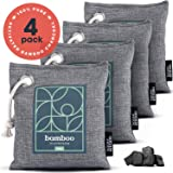 Bamboo Charcoal Air Purifying Bag 4-Pack – Naturally Freshen Air with Powerful Activated Charcoal Bags Odor Absorber – Kid and Pet-Friendly Air Fresheners for Home or Car by House Edition, 4x200g
