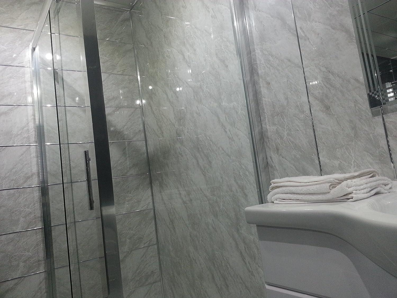 10 slate grey pvc bathroom cladding shower wall panels amazoncouk kitchen u0026 home