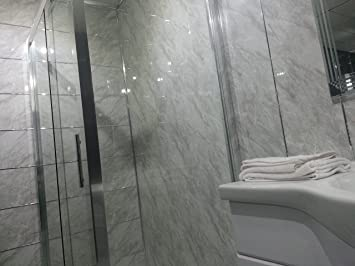 10 Slate Grey PVC Bathroom Cladding Shower Wall Panels