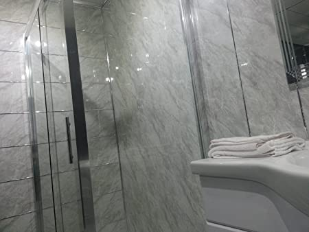 White Sparkle Diamond Effect PVC Bathroom Cladding Shower Wall - White sparkle bathroom cladding