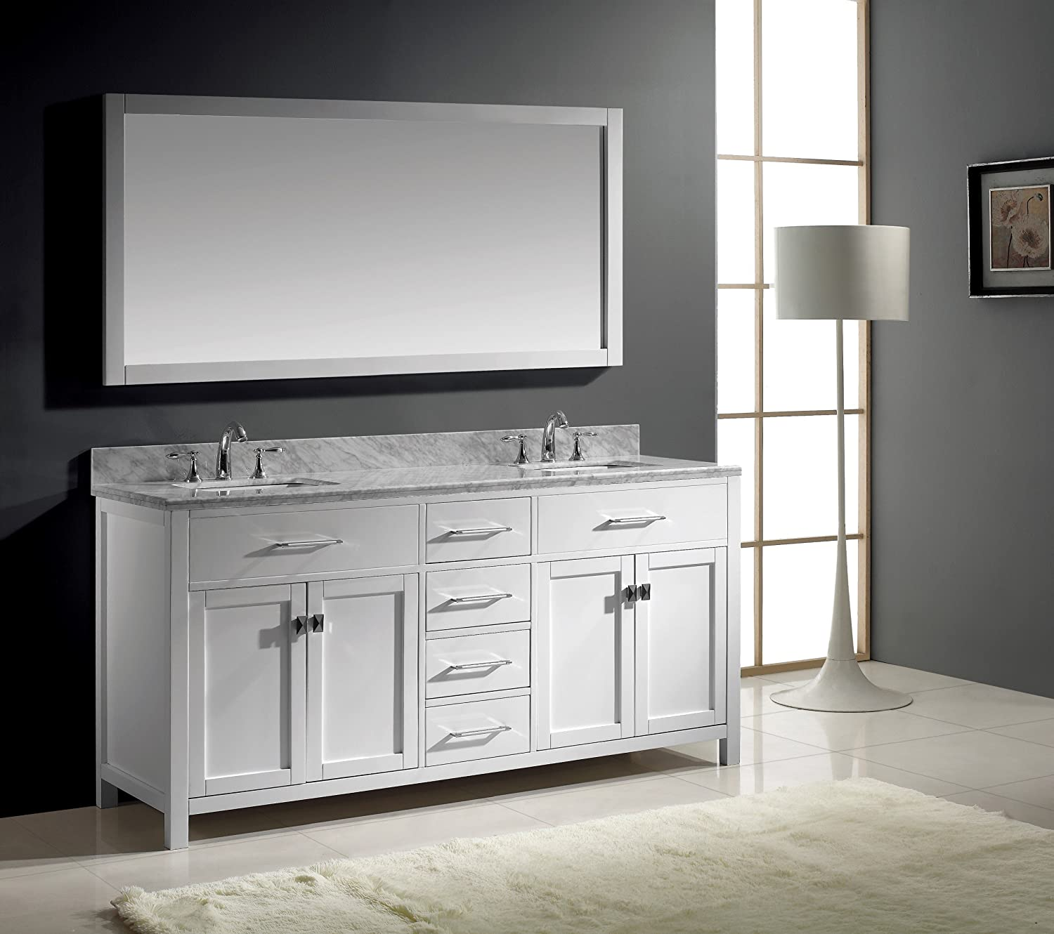 Virtu USA MD 2072 WMSQ WH Caroline 72 Inch Bathroom Vanity With Double  Square Sinks In White And Italian Carrera White Marble   Double Vanity With  Marble ... Part 39