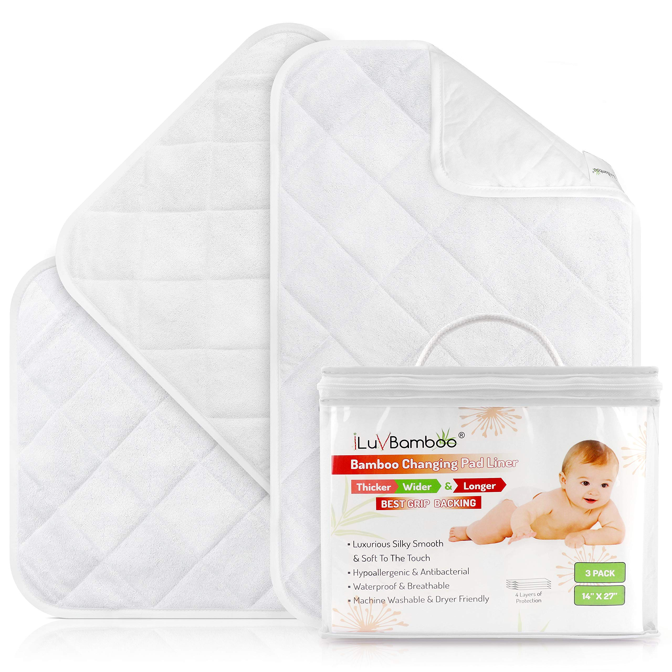 iLuvBamboo Changing Pad Liners - 3 Pack - Waterproof, Portable, Extra Soft, Thicker, Longer & Wider Changing Table Cover - Reusable & Washable - Best Diaper Change Mat for Baby Gifts & Showers by I LUV BAMBOO