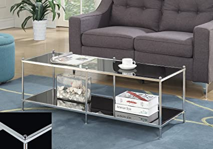 Amazon.com: Modern Black Glass Coffee Table, Chrome Frame ...