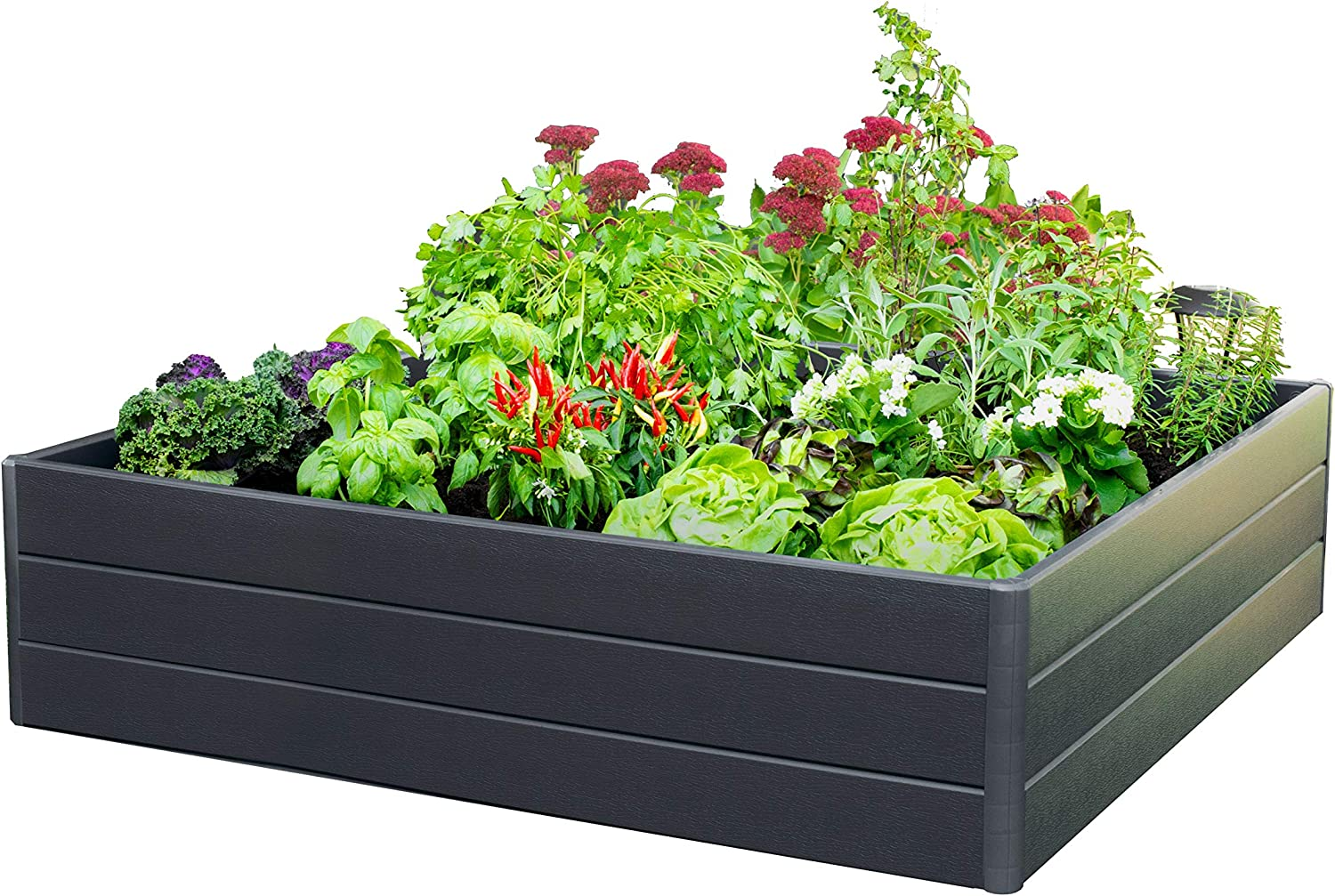 "Nuvue Products 26008 L x 44.5"" W x 11.5"" H, Dark Gray Raised Patio Garden Box"