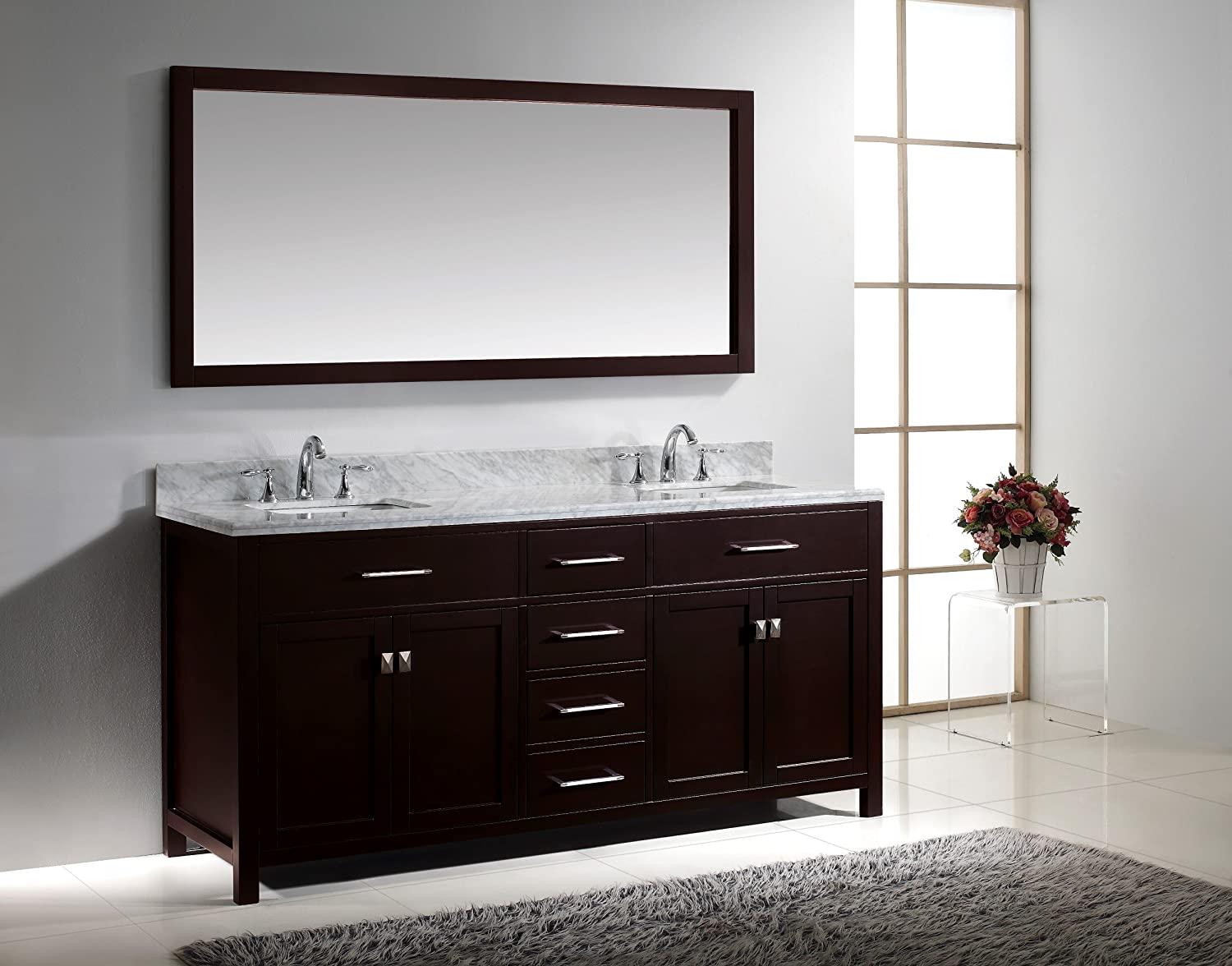 virtu usa caroline 72inch bathroom vanity with double square sinks in espresso and italian carrera white marble amazoncom