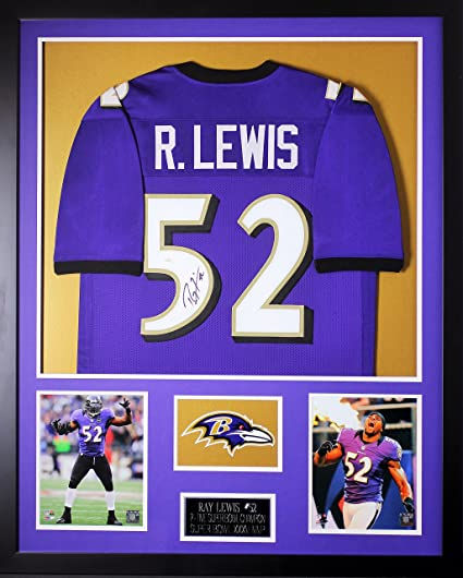 Ray Lewis Autographed Purple Ravens Jersey - Beautifully Matted and Framed  - Hand Signed By Ray 7f6e9d664