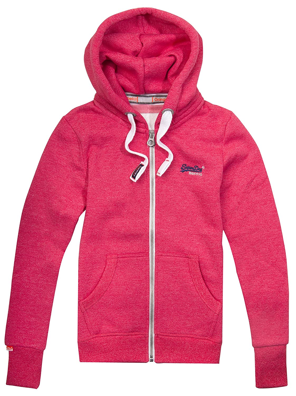 Superdry Orange Label Primary Zip Hoody, Wild Cherry Jaspe