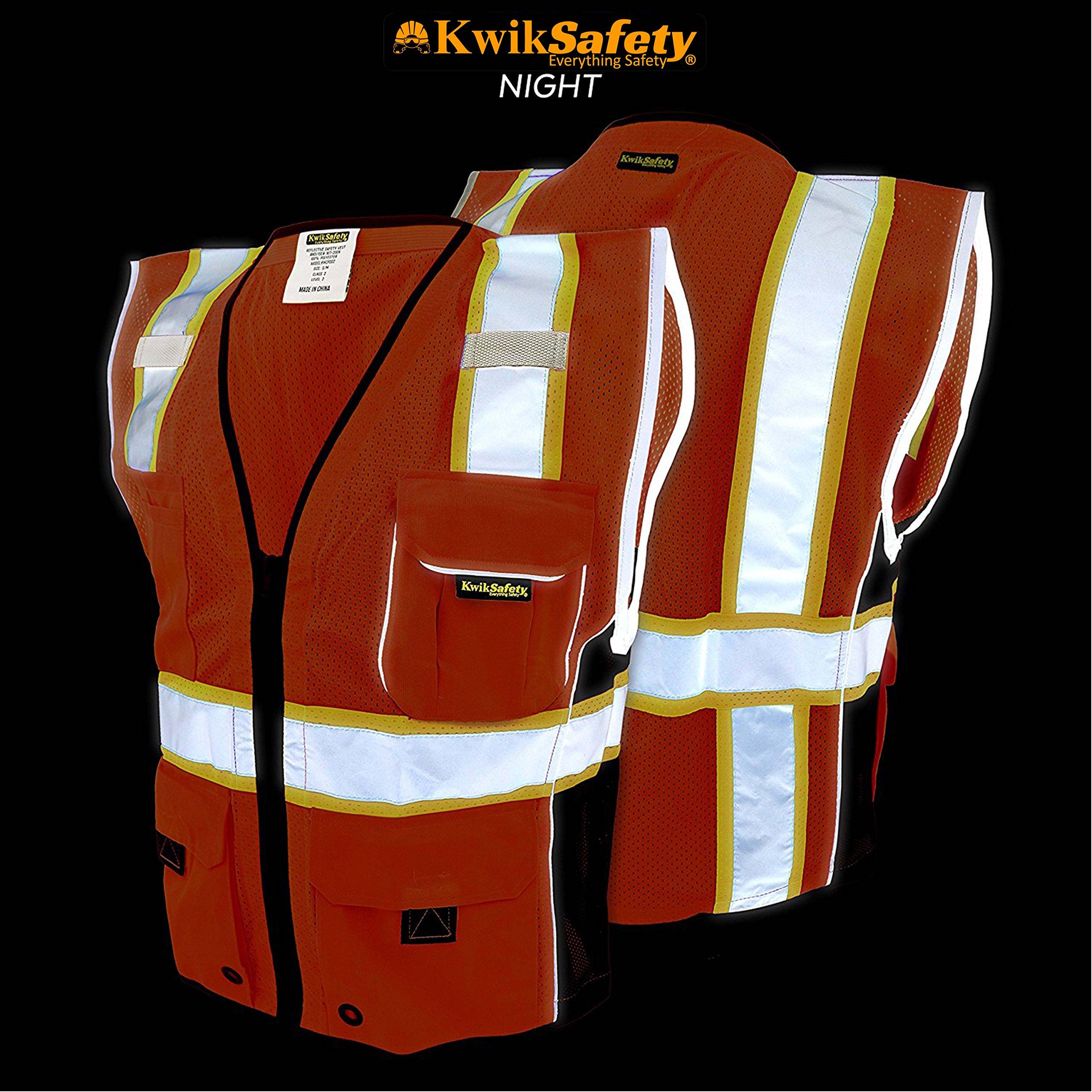 KwikSafety CLASSIC Safety Vest | Class 2 ANSI OSHA PPE | High Visibility Reflective Stripes, Heavy Duty Mesh with Pockets and Zipper | Hi-Vis Construction Work Hi-Vis Surveyor | Orange S/M by KwikSafety (Image #4)