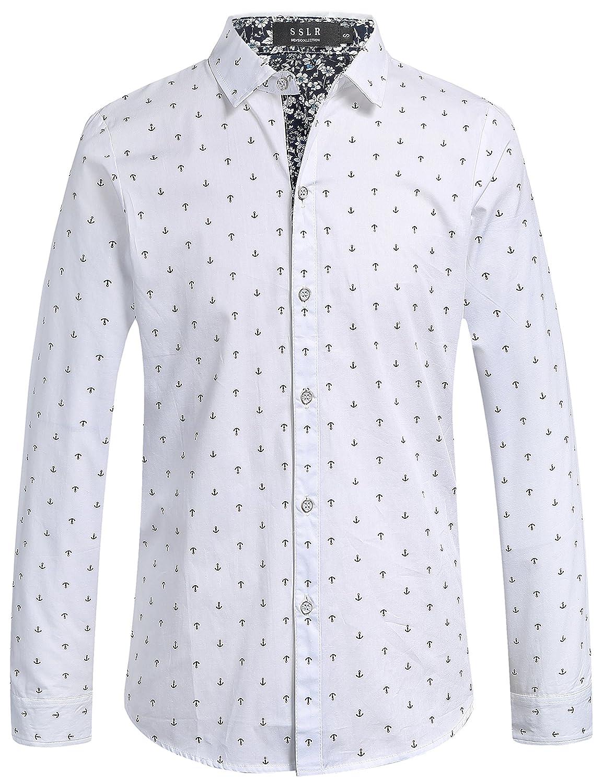 SSLR Camisas Slim Fit Hombre Manga Larga Estampada Ancla Casual (Small, Negro): Amazon.es: Ropa y accesorios
