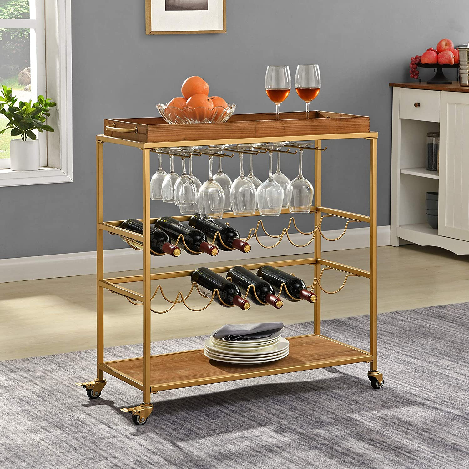 FirsTime & Co. Gold Concord Farmhouse Removable Tray Bar Cart, American Designed, Gold, 32.5 x 13 x 30 inches