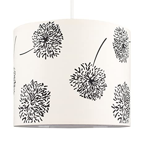 Moderna Pantalla de Lámpara de Techo Colgante MiniSun Cilíndrica con Estampado Floral de Siluetas en Crema y Negro