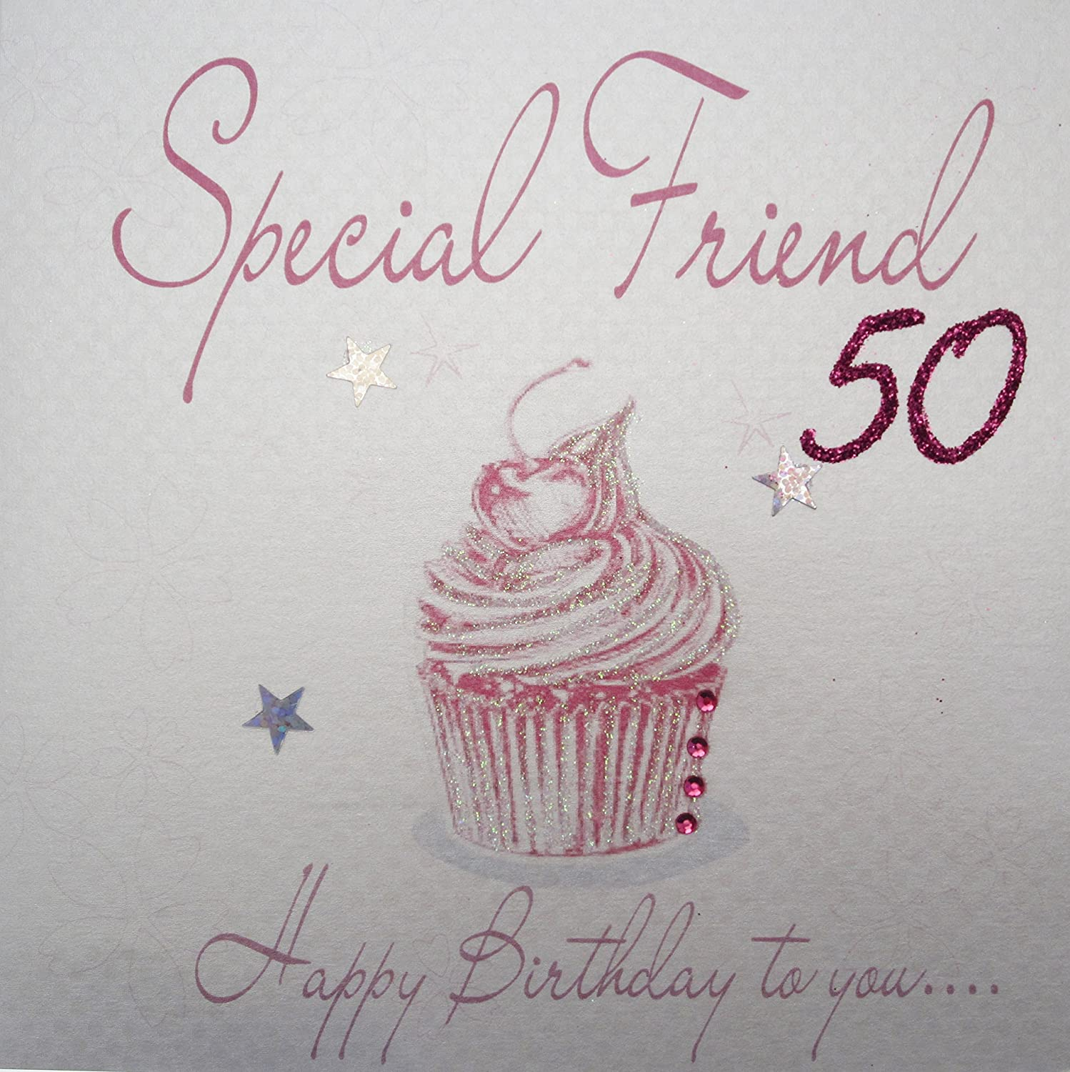 WHITE COTTON CARDS Special Friend 50 Happy Handmade 50th Birthday Card Pink Cupcake