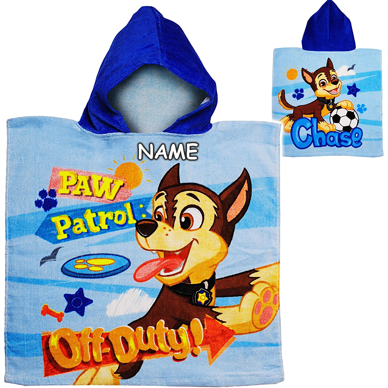 Paw Patrol 100 /% Baumwolle Ha.. Name inkl mit Kapuze Hunde 50 cm * 105 cm Frottee // Velours 2 bis 6 Jahre Poncho alles-meine.de GmbH Badeponcho // Kapuzenhandtuch