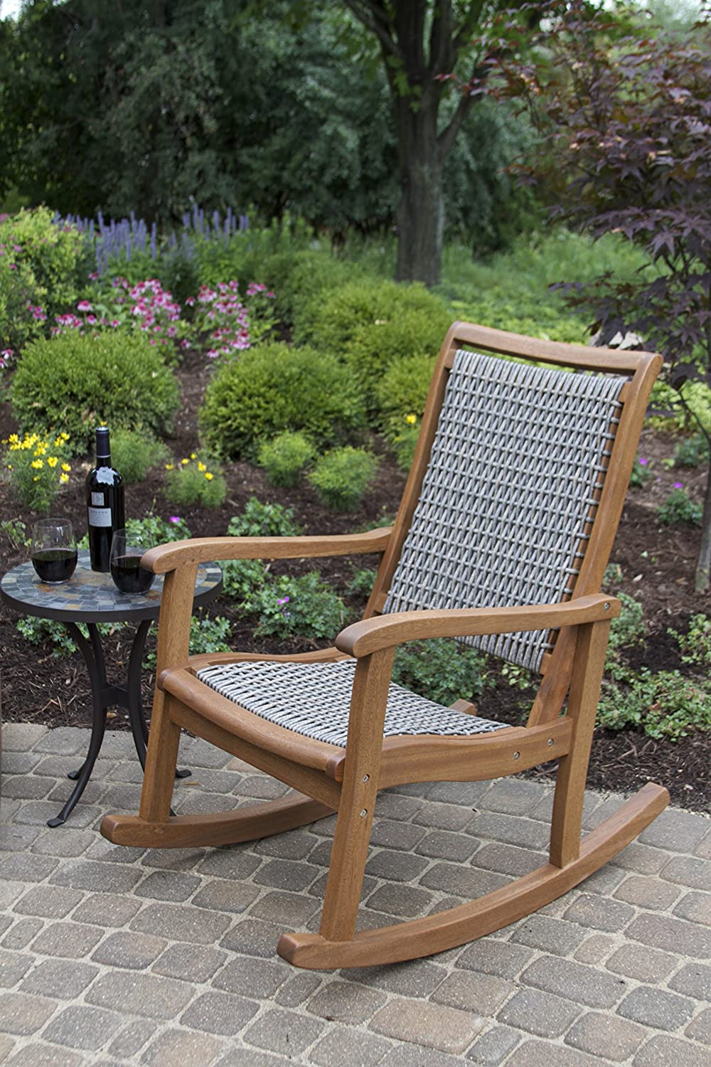 amazoncom outdoor interiors resin wicker and eucalyptus rocking chair brown and grey patio lawn u0026 garden