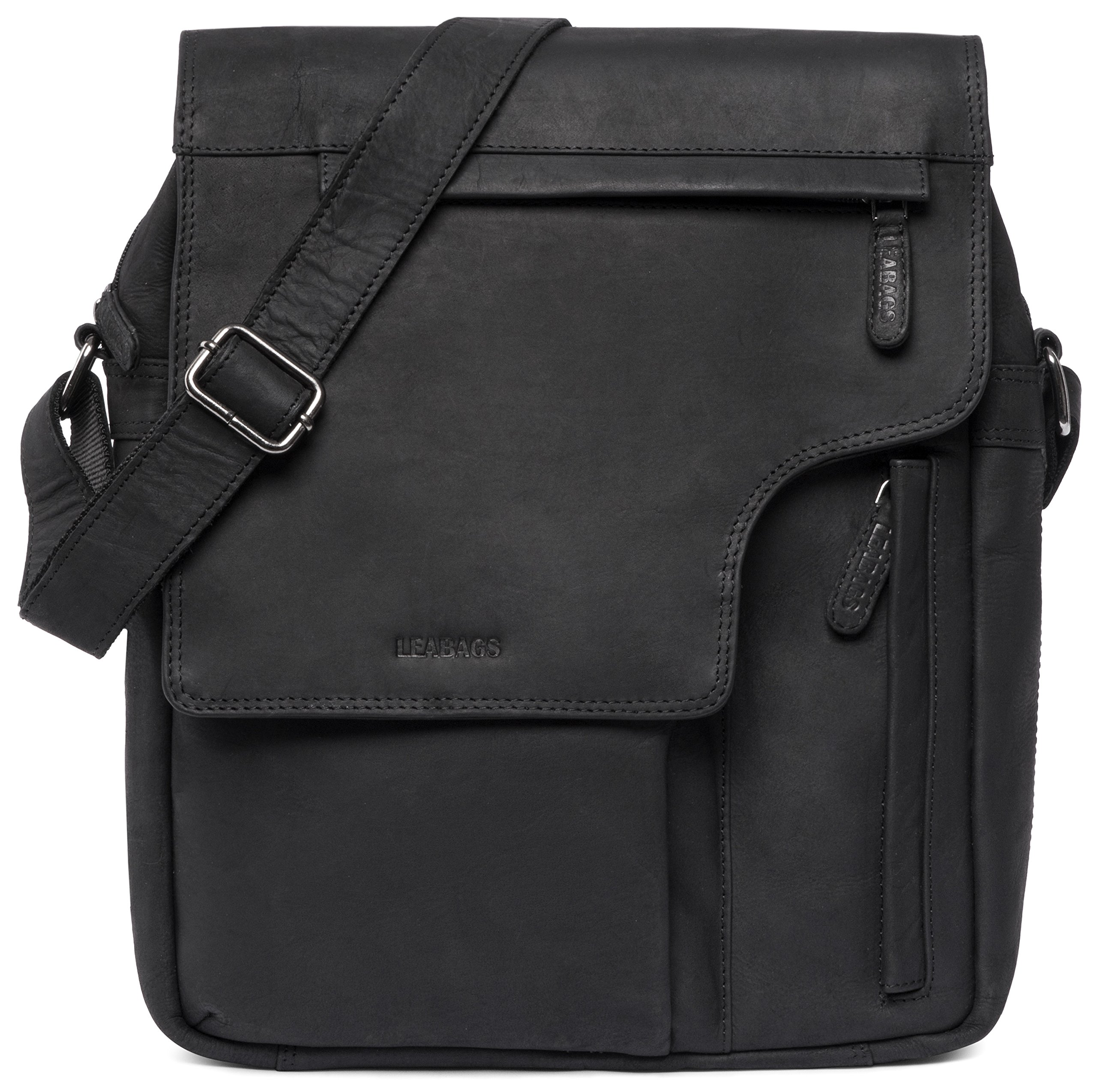 LEABAGS Amsterdam genuine buffalo leather city bag in vintage style - Black