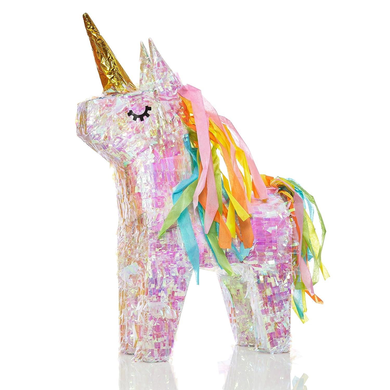 Lumaland Piñata para Rellenar Unicornio mágico con Efecto Glitter Aprox 40 x 14 x 54 cm