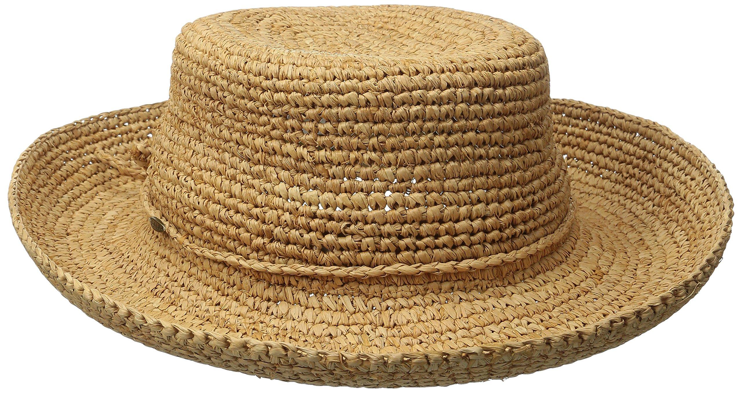 SCALA Women's Crocheted Raffia Hat with Drawstring, Tea, One Size