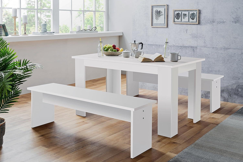 Tischgruppe - Esszimmertisch + 2 Bänke (verschiedene Farben und ...