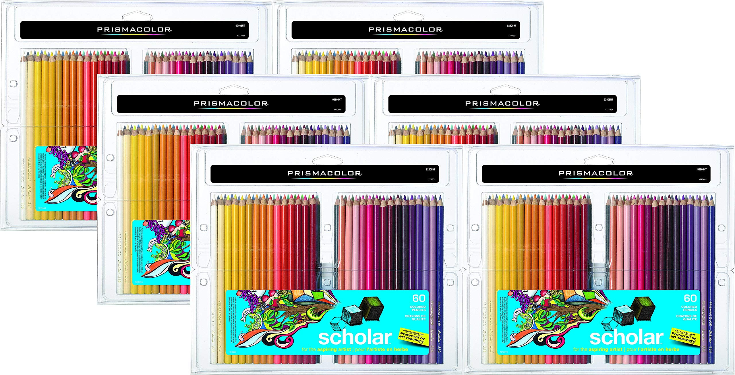 Prismacolor 92808HT Scholar 360 (6 Packs of 60 Pencils) Colored Pencils; Soft, Smooth Leads Ideal for Blending and Shading; Hardened Cores Resist Breakage; Rich, Vibrantly Pigmented Colors