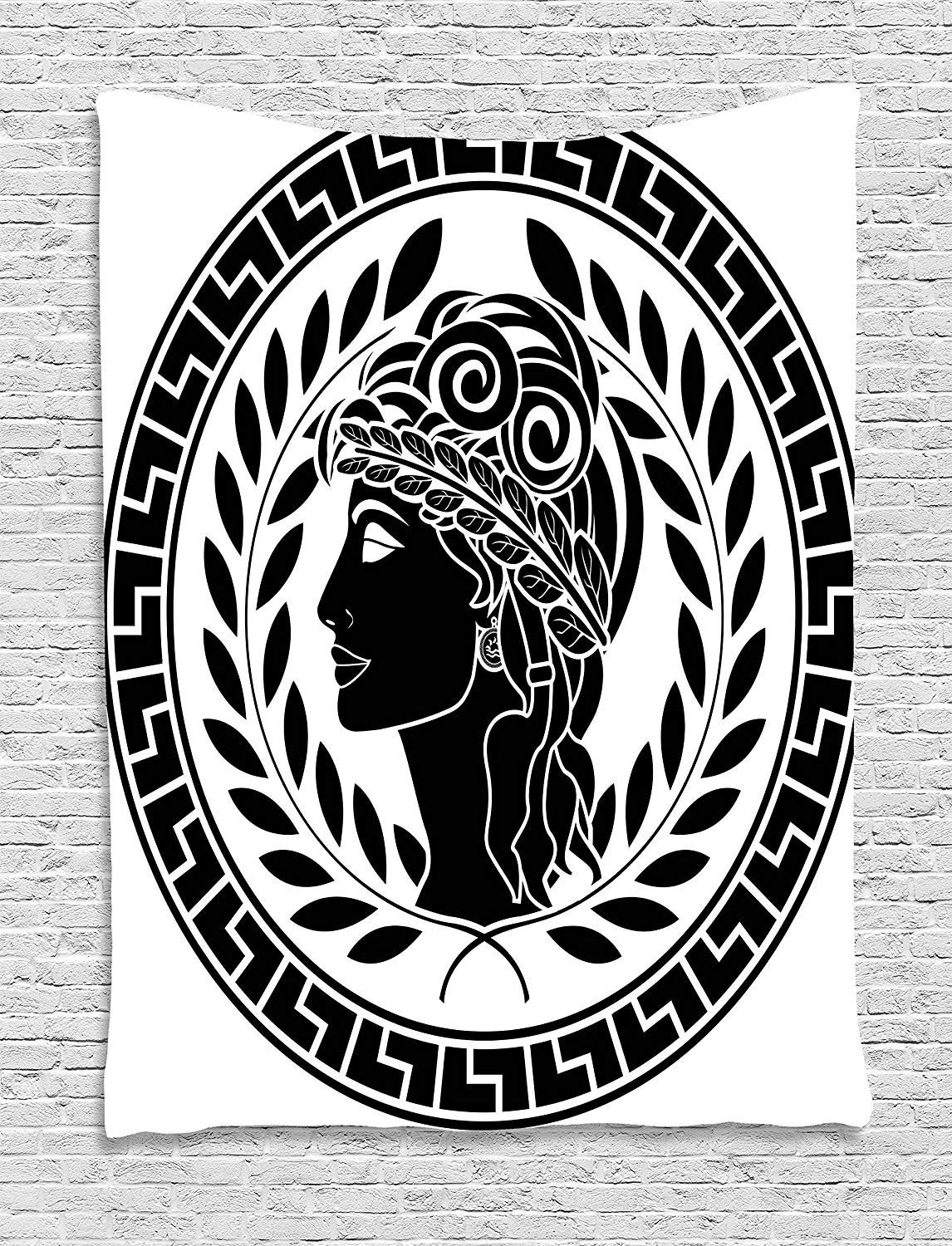 XHFITCLtd Toga Party Tapestry, Roman Elegance Beauty Muse Portrait Patrician Woman Old Fashion Aesthetic Icon, Wall Hanging for Bedroom Living Room Dorm, 60 W X 80 L Inches, Black White
