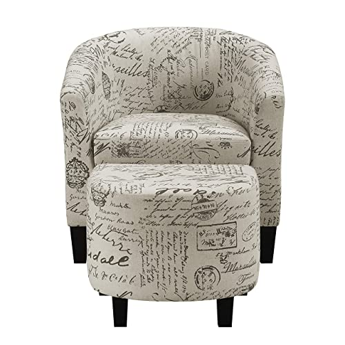 Pulaski Barrel Accent Chair and Ottoman, French Script, 28.5 L x 29.0 W x 30.5 H