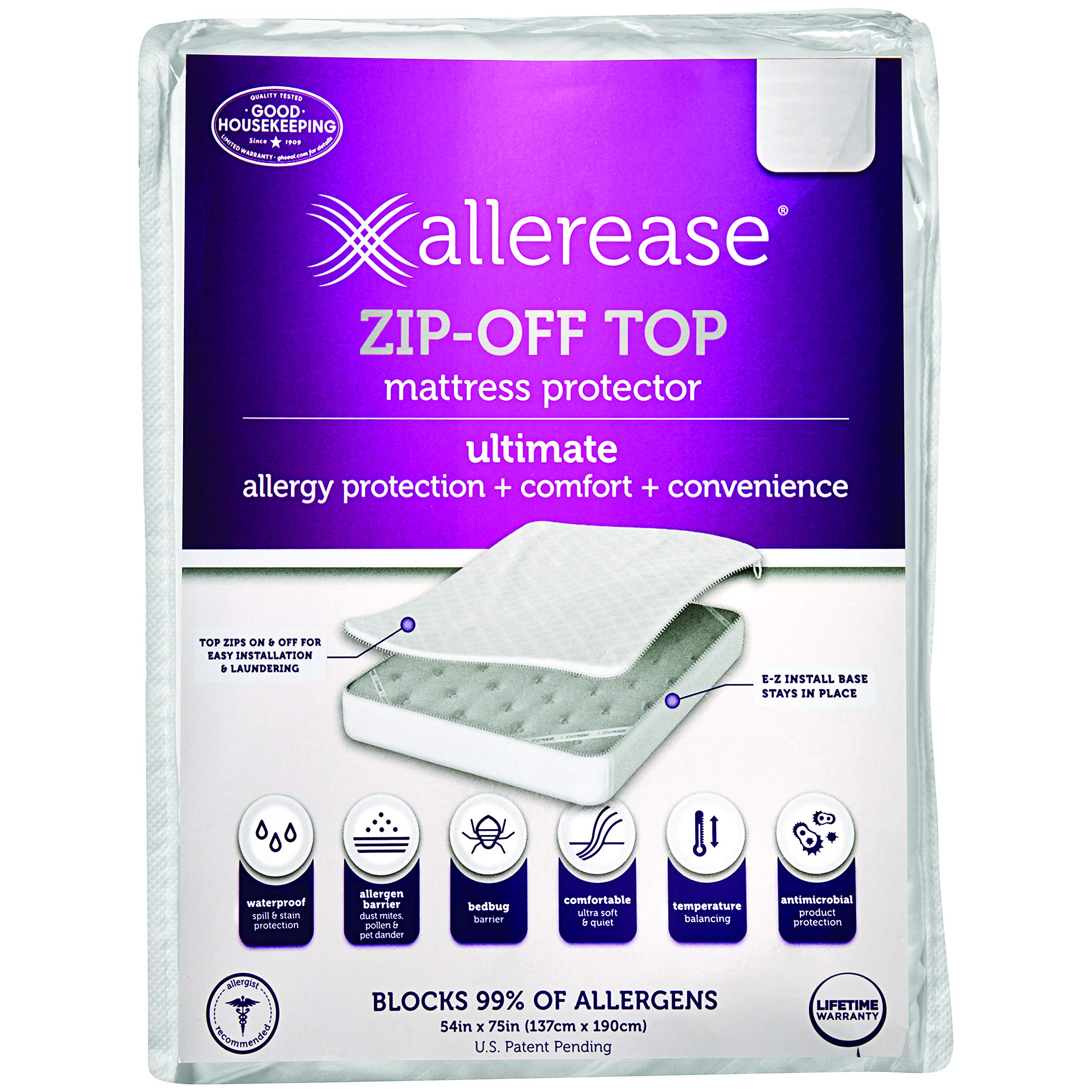 Aller-Ease Ultimate Zip-Off Top Mattress Protector – 360 Degree Zip-Off Mattress Top with Temperature Balancing Technology, Plush Protection Against Bed Bugs, Dust Mites & Pet Dander, King Sized
