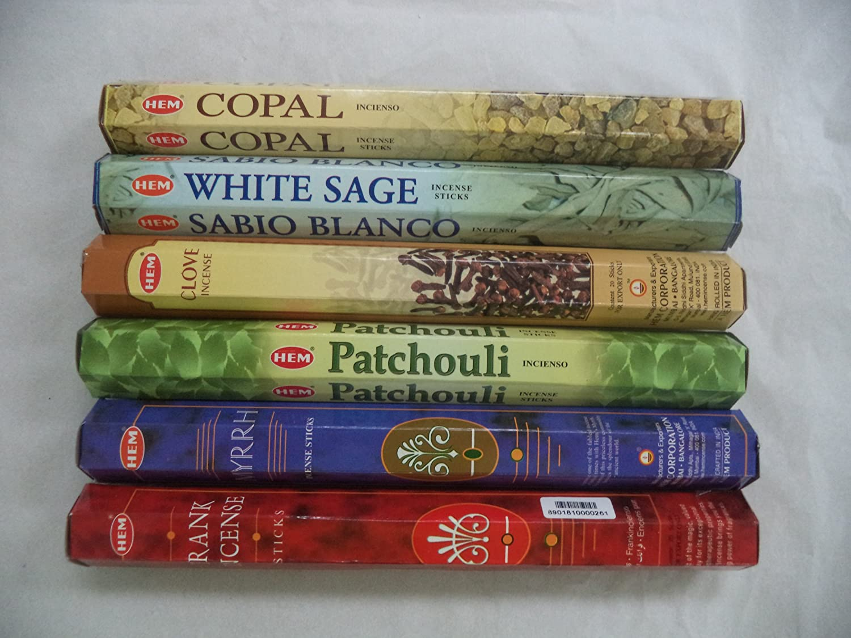 HEM Copal White Sage Frankincense Clove Patchouli Myrrh Incense 120 Sticks Lot