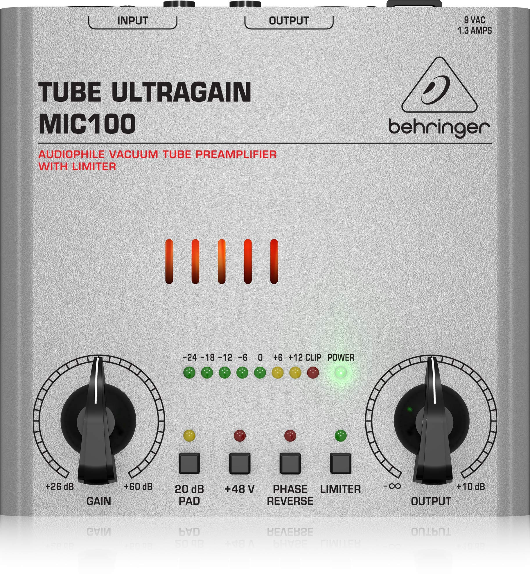 Behringer Tube Ultragain MIC100 Audiophile Vacuum Tube Preamplifier with Limiter by Behringer
