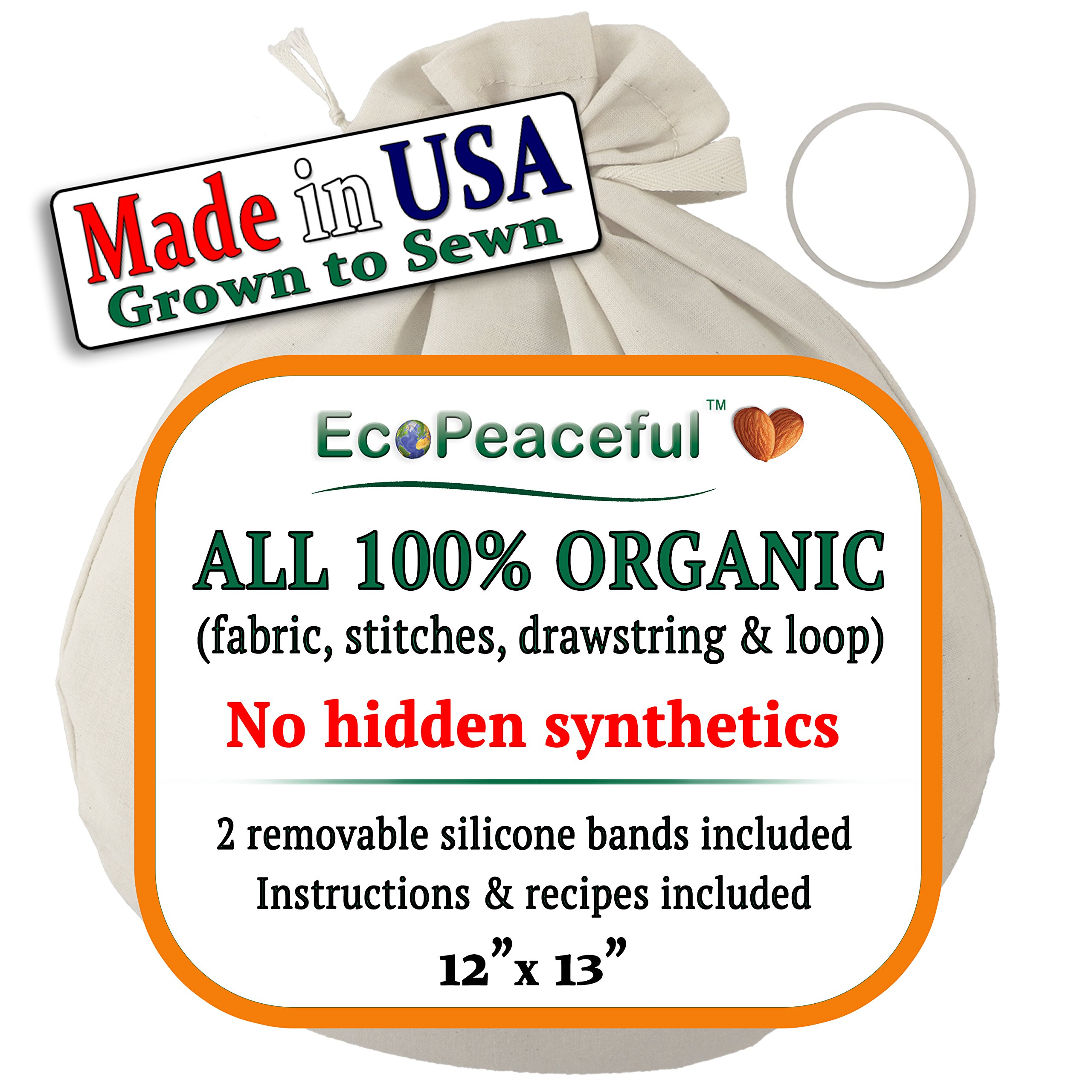 EcoPeaceful Nut Milk Bag - ALL 100% Organic Cotton, Undyed, Unbleached. Filter, Strainer or Produce Drawstring Bag w/2 Silicone Bands For Easy & Tight Closing. DAIRY-FREE Recipes, Videos & Support