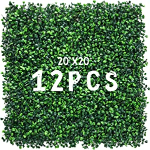 """Decwin 12 Pieces 20"""" X 20"""" Artificial Hedge Boxwood Panel Faux Topiary Grass Wall Privacy Screen UV Stable Artificial Plants for Indoor Outdoor Decor Garden Fence Backdrop"""
