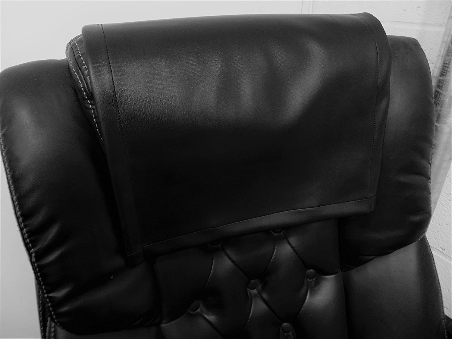 Vinyl, faux leather PVC Black ,15x15 Sofa Loveseat Chaise Theater Seat, RV Cover, Chair Caps Headrest Pad, Recliner Head Cover, Furniture Protector luvfabrics