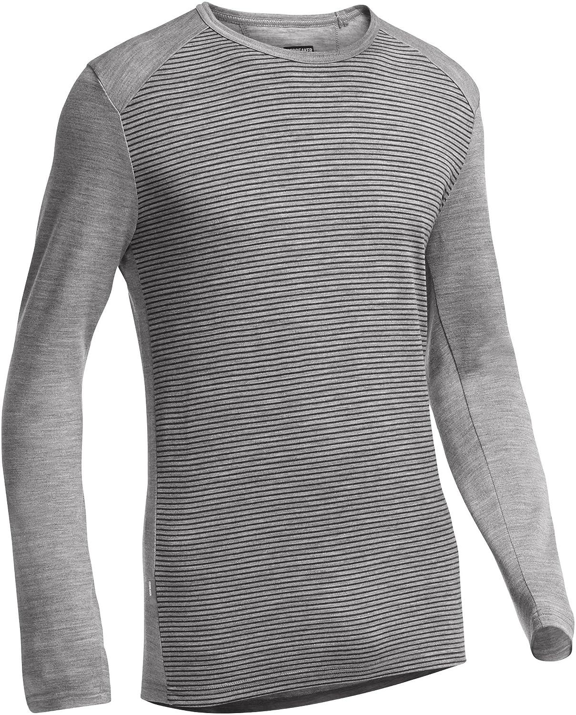 Icebreaker Herren Shirt Unterhemd langarm Tech Long Sleeve Crewe Stripe