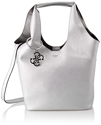 18199530e0 Guess Flora, Sacs portés épaule femme, Argenté (Silver/Sil), 45x31x16