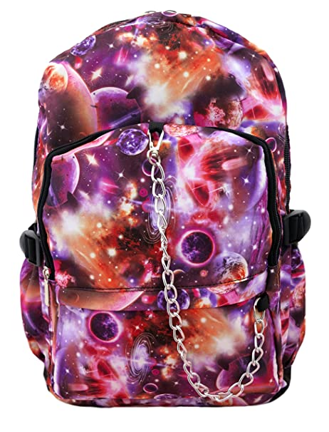 Espacio Galaxy Patrón Mochila | Rojo/púrpura Escuela College Cosmos Rock fangbanger Emo Bolsa para