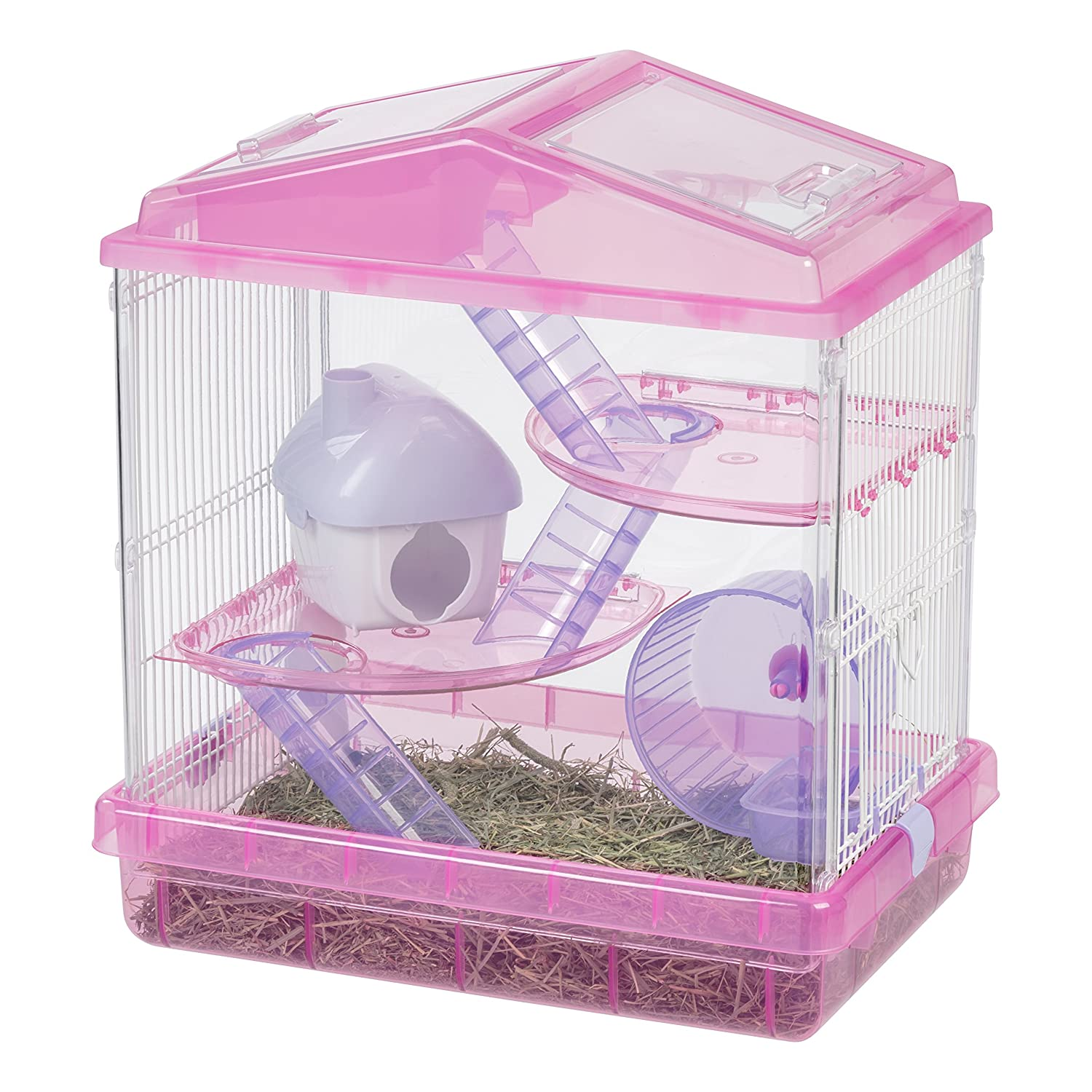 IRIS USA Hamster and Gerbil Pet Cage, 3-Tier, Red 301260