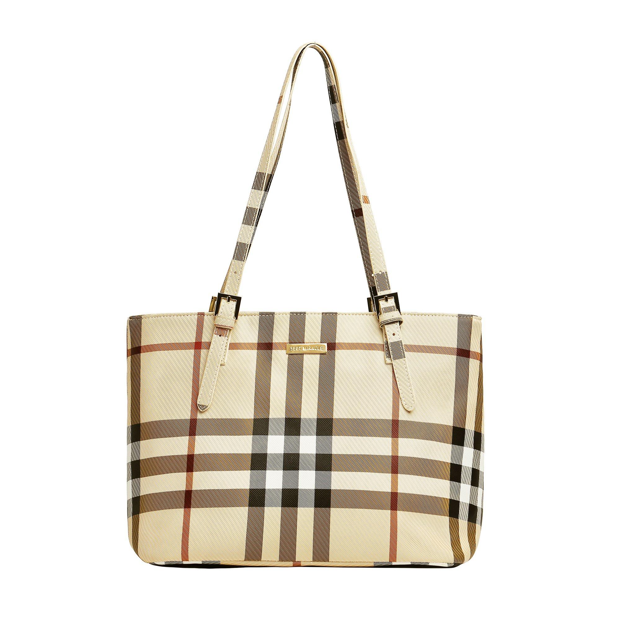 SEPT MIRACLE PU Leather Womens Portable Handbags Tote Bag Shoulder Bag Purse with Zipper(Khaki)