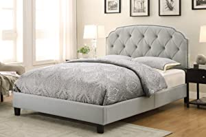 "Pulaski Tufted Traditional Soft Grey, 86.50"" L x 66.00"" W x 58.00"" H Upholstered Queen Bed,"