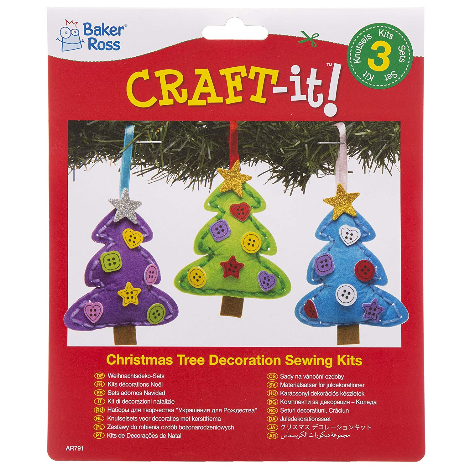 Baker Ross Christmas Tree Decoration Sewing Kits Pack 3 For