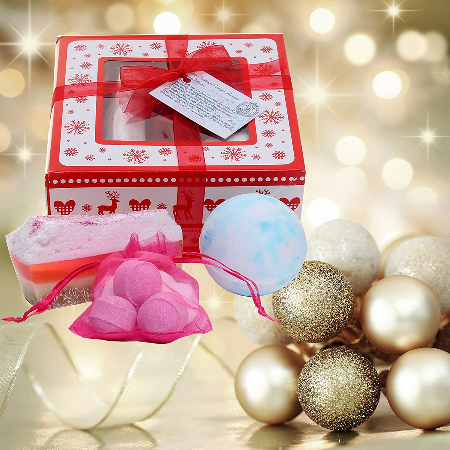 Handmade Bathbomb Pamper Hamper Gift Box with Christmas Tag and Red ...