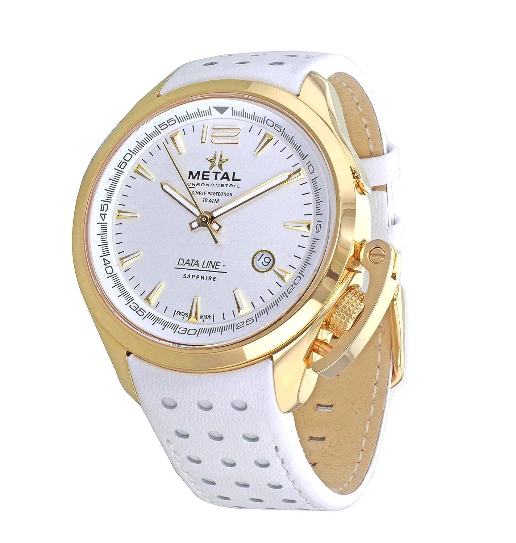 Metall CH Daten Line Herren Quarz-Uhr mit weißem Zifferblatt Analog-Anzeige und Weiß Lederband 8310.41