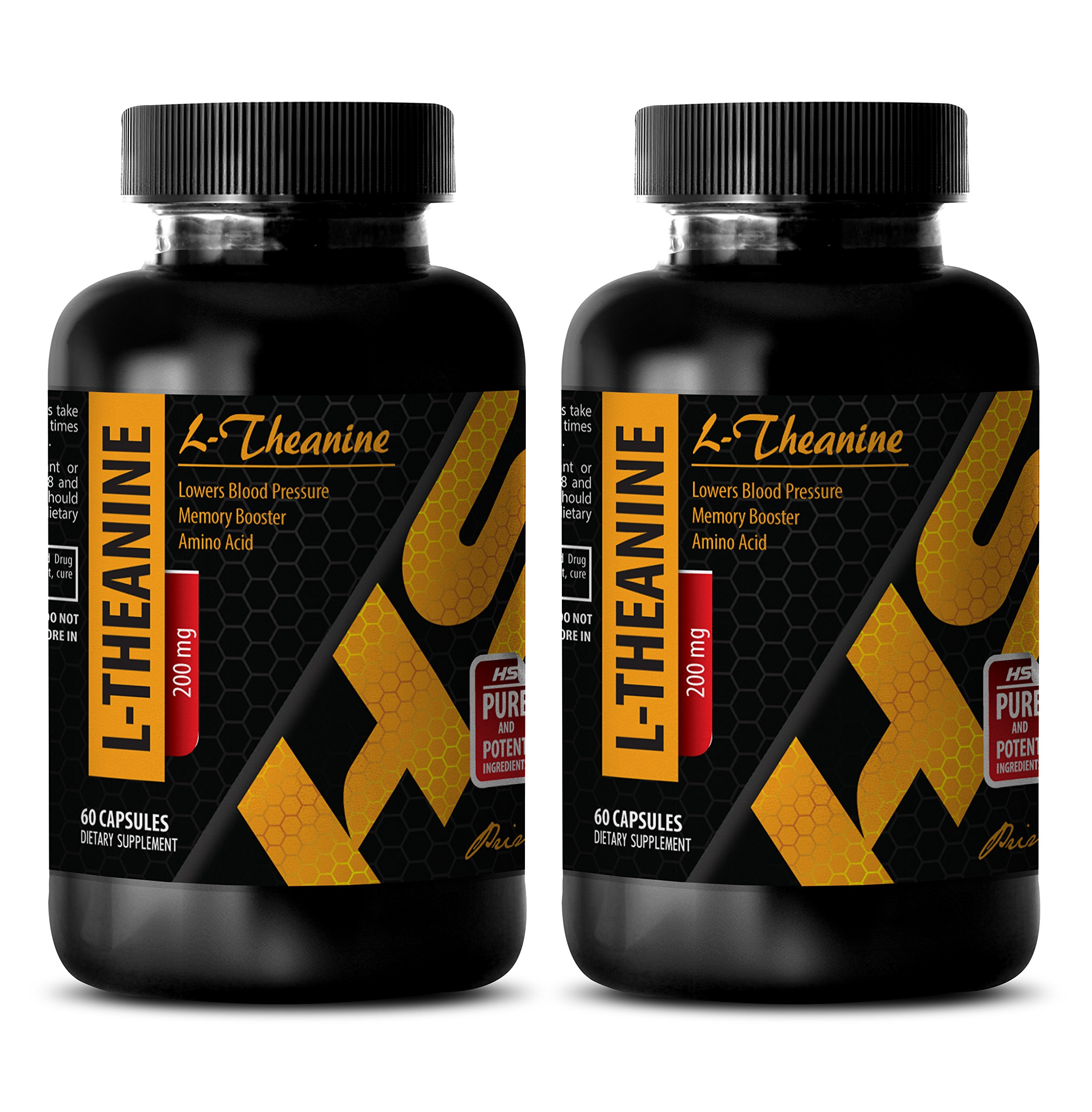 Brain booster pills - L-Theanine 200MG - Theanine extended release - 2 Bottle (120 Capsules) by HS PRIME LLC