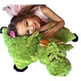 "Green Dragon Zoopurr Pets 2-in-1 Stuffed Animal and Pillow Large 19"" with Embroidered Eyes"
