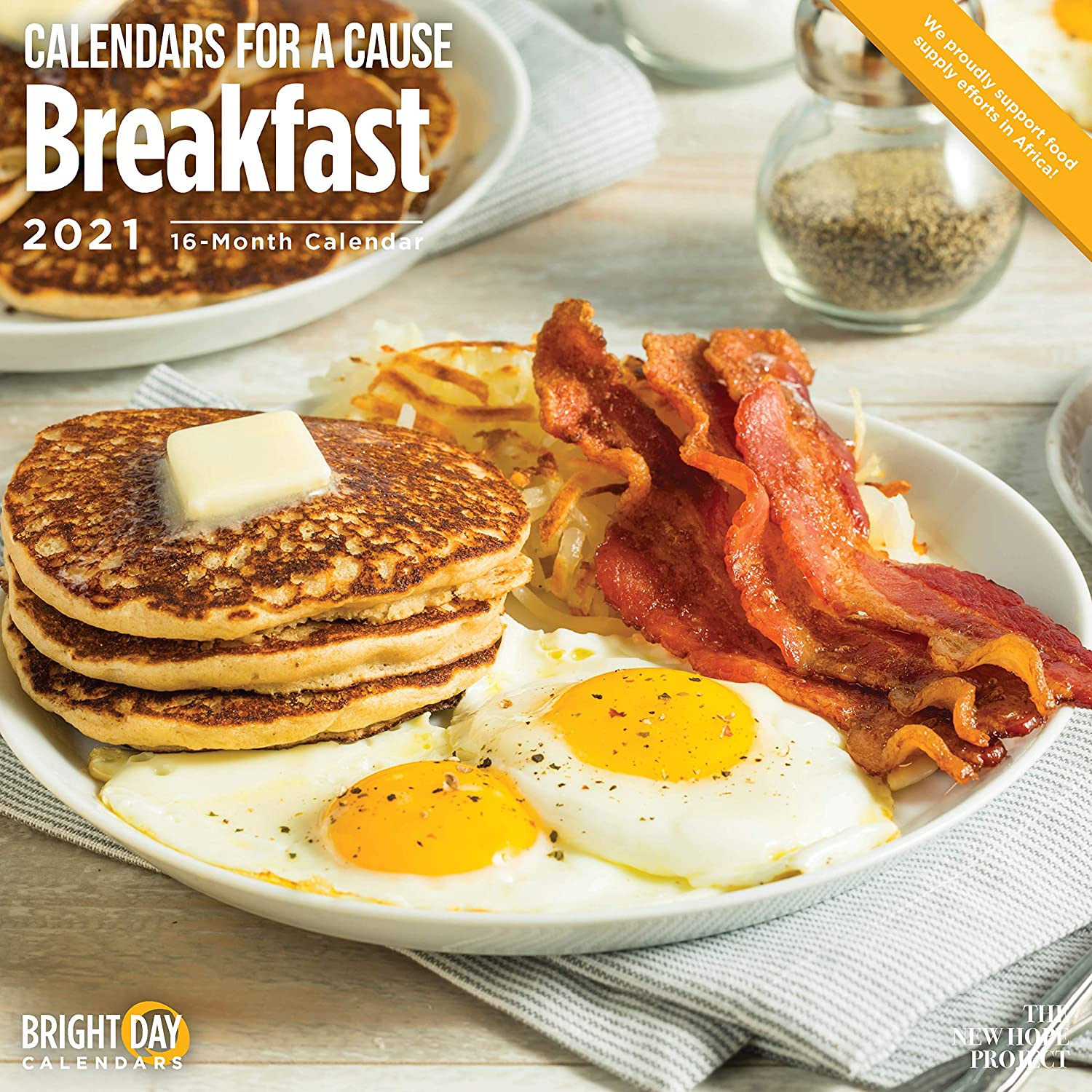 2021 Breakfast Wall Calendar by Bright Day, 12 x 12 Inch, Bacon Calendar for a Cause Collection