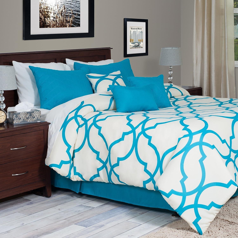 Light blue and white bedding 3 piece lattice trellis comforter set - Amazon Com Lavish Home 7 Piece Oversized Trellis Comforter Set King Blue Home Kitchen