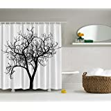 Lonely Tree Black and White Fall Winter Branches Minimal Decorations Art Decor Design Digital Print Polyester Fabric Shower Curtain